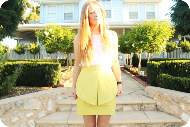 cue green peplum skirt - Maison Blue