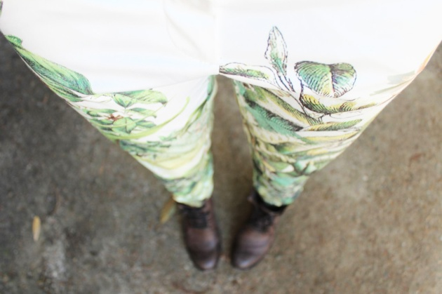 floral pants and boots