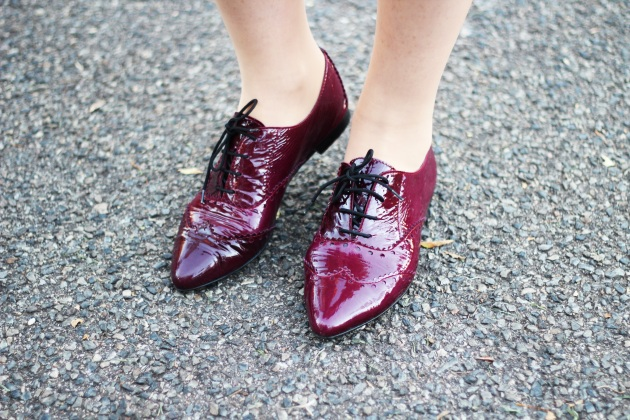 patent purple brogues