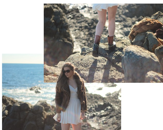 vintage fur and Keepsake dress at the beach